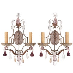 Pair of French Painted and Crystal Sconces