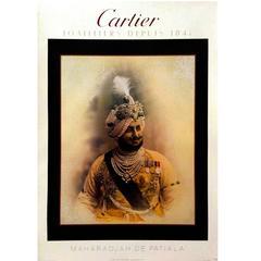 Modern Period French Cartier Maharajah de Patiala Original Poster, 1985