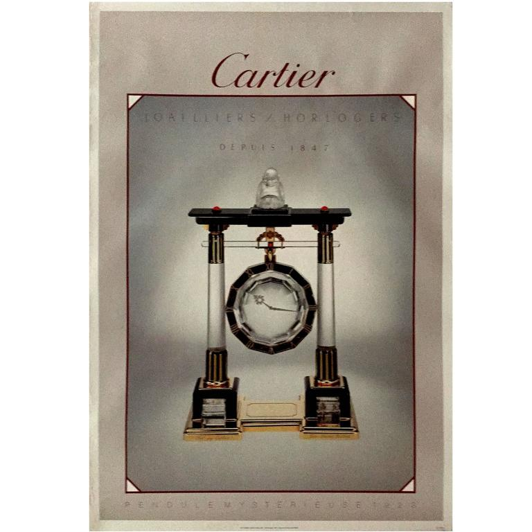Modern Period French Original Cartier Pendulemysterieuse Poster, 1985