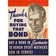"""American Government Poster """"Thanks for Buying That Bond"""" 1942"""