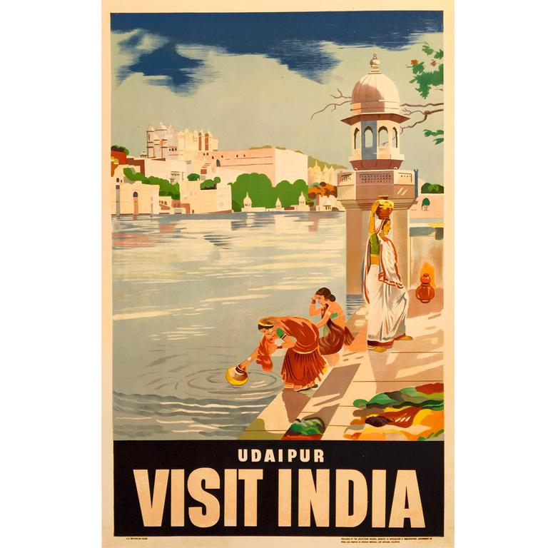 Original Indian Government Travel Poster for Udaipur, 1950s