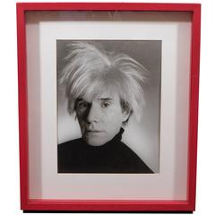 Vintage Christopher Makos Photo of Andy Warhol in Red Shadowbox Frame