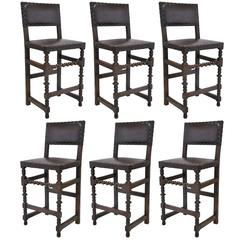 Set of Six Antique Bar Stools with Original Leather