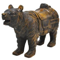 19th Century Black Forest Sculpture of Bear with Glass Eyes