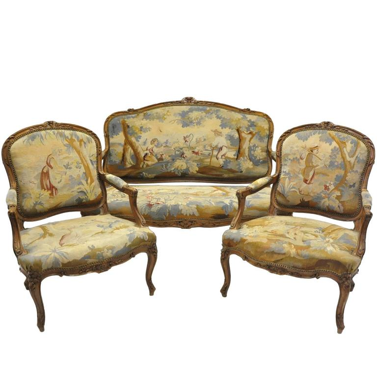Three piece antique louis xv salon seating set with aubusson tapestry at 1stdibs - Salon louis xv ...