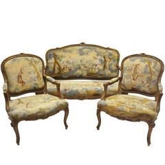 Three-Piece Antique Louis XV Salon Seating Set with Aubusson Tapestry