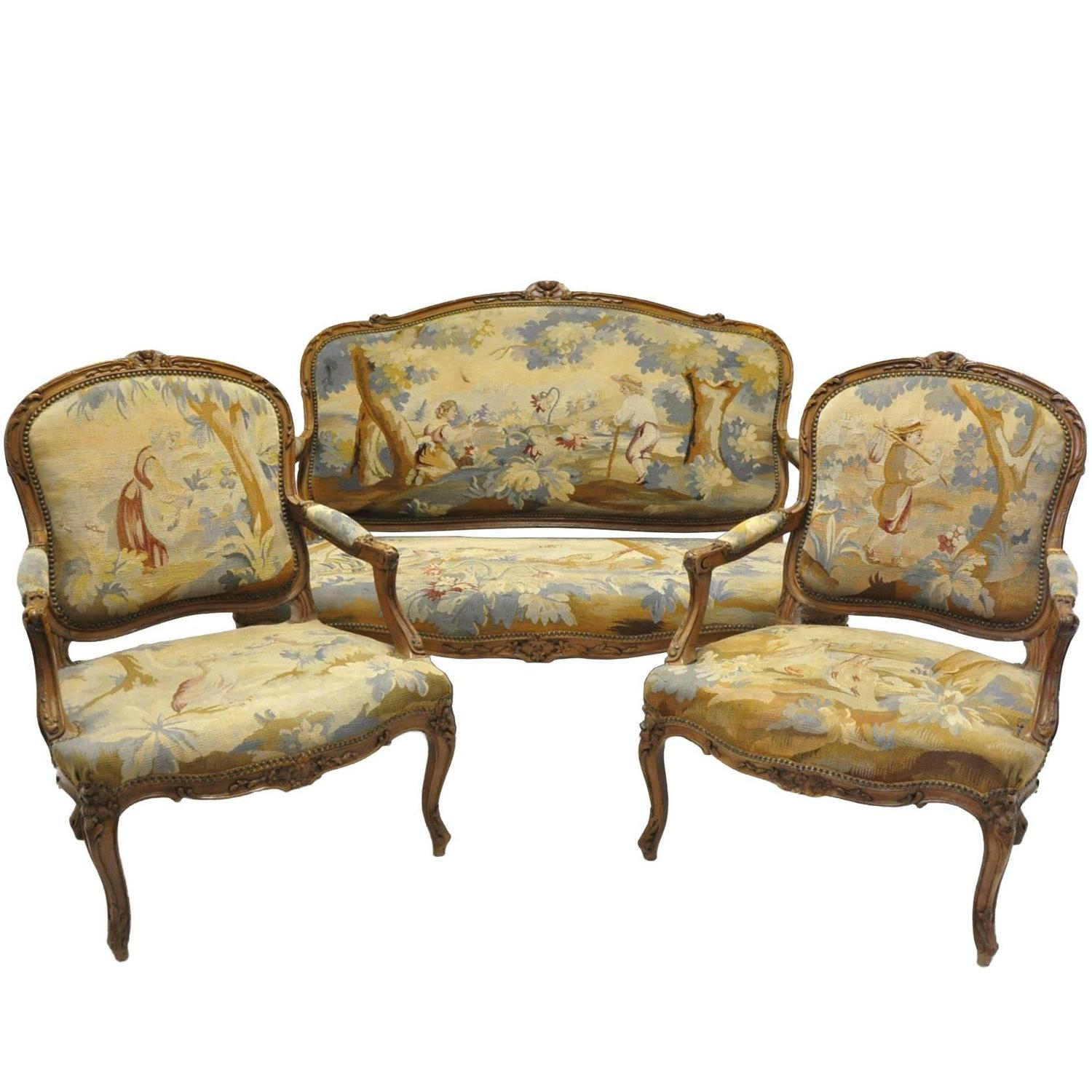 Three piece antique louis xv salon seating set with for Salon louis xv