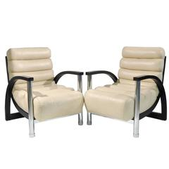 Pair of Jay Spectre Crescent Lounge Chairs
