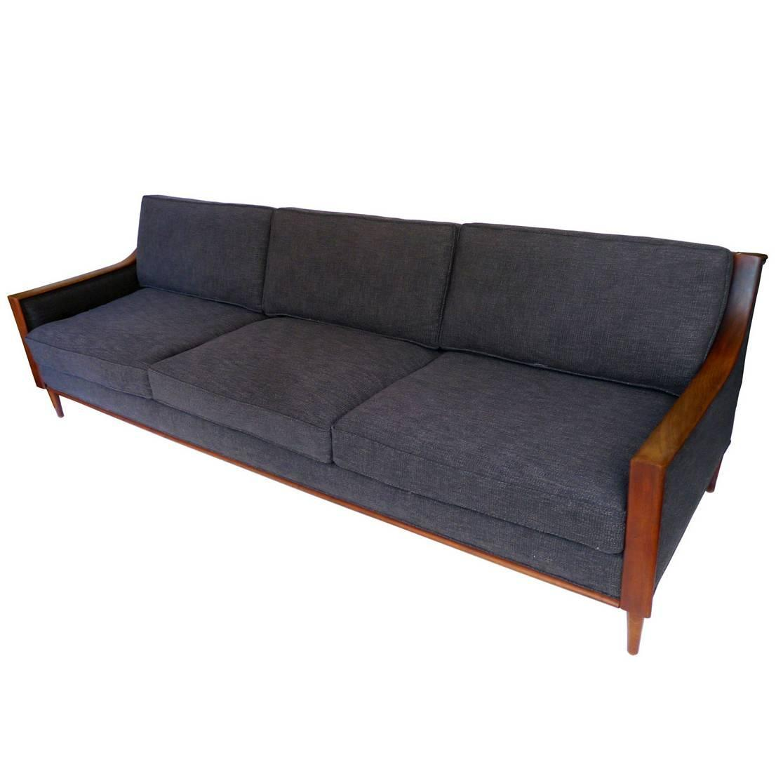 reupholstered mid century scandinavian sofa at 1stdibs. Black Bedroom Furniture Sets. Home Design Ideas