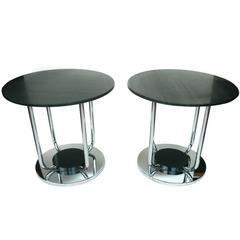 Pair of Custom-Made Chrome and Black Marble Side Tables