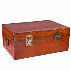 Chinese Lacquered Leather Trunk