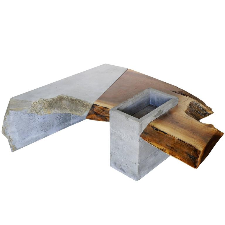 Asymmetric Brutalist Concrete And Driftwood Coffee Table