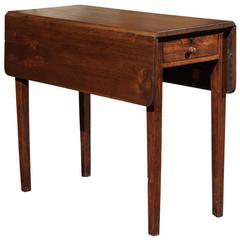 English Walnut Drop-Leaf Side Table