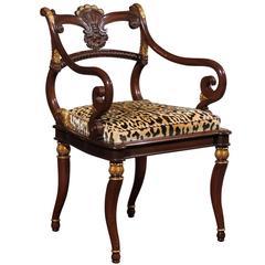 Regency Style Parcel Gilt Armchair