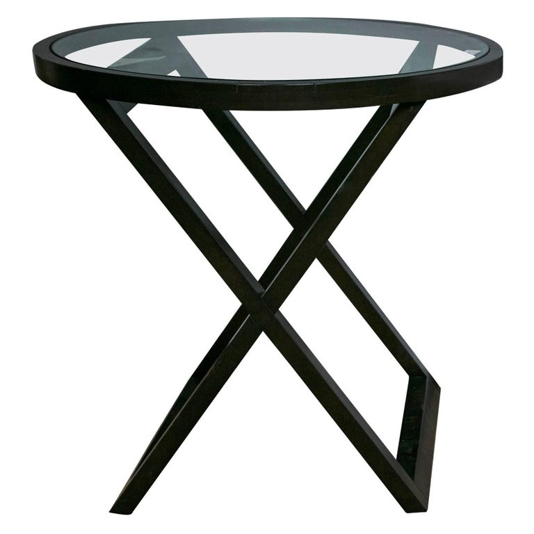 Black Ralph Lauren Mercer Street Lacquered Bistro Or Lamp Table With Gl Top For