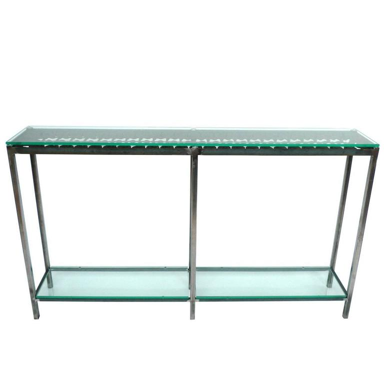 Custom Made Iron And Glass Console Table For Sale