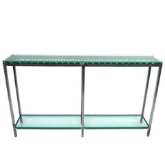 Custom-Made Iron and Glass Console Table