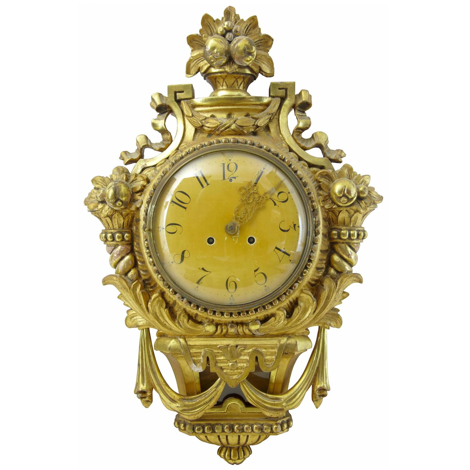 Th century swedish s gilt carved wood wall clock for
