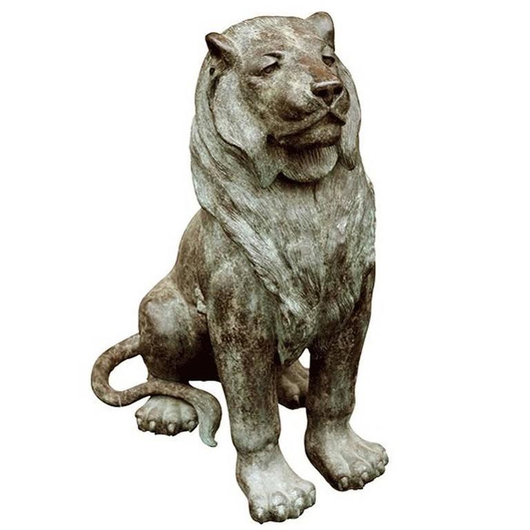 Lion Sculpture Sitting in Gunmetal