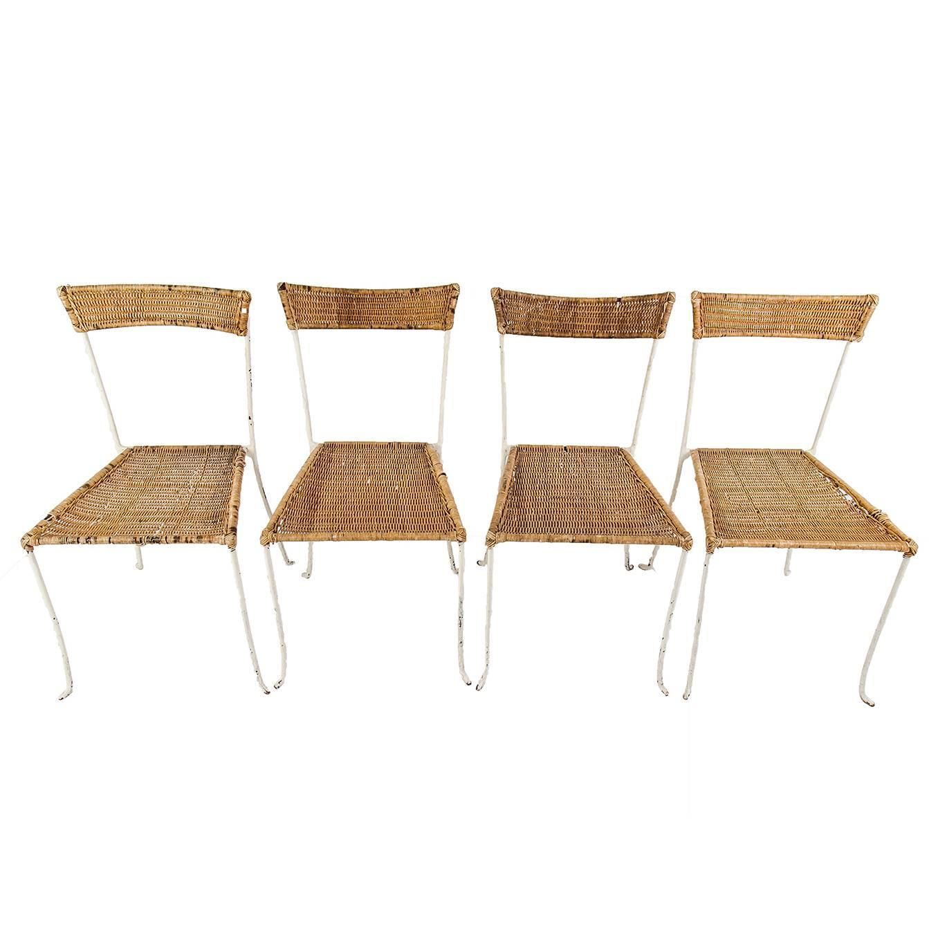 Set of Four Antique French Wicker Chairs at 1stdibs