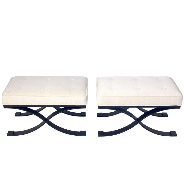 Pair of Elegant X Base Benches in Bronze Finished Metal and Ivory Velvet 1