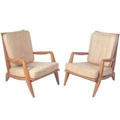 Pair of French Modernist Lounge Chairs by Roger Rene Landault