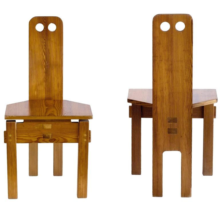 Pair of Solid Wood Circle Cut-Out Chairs by Dieter Gullert, circa 1967