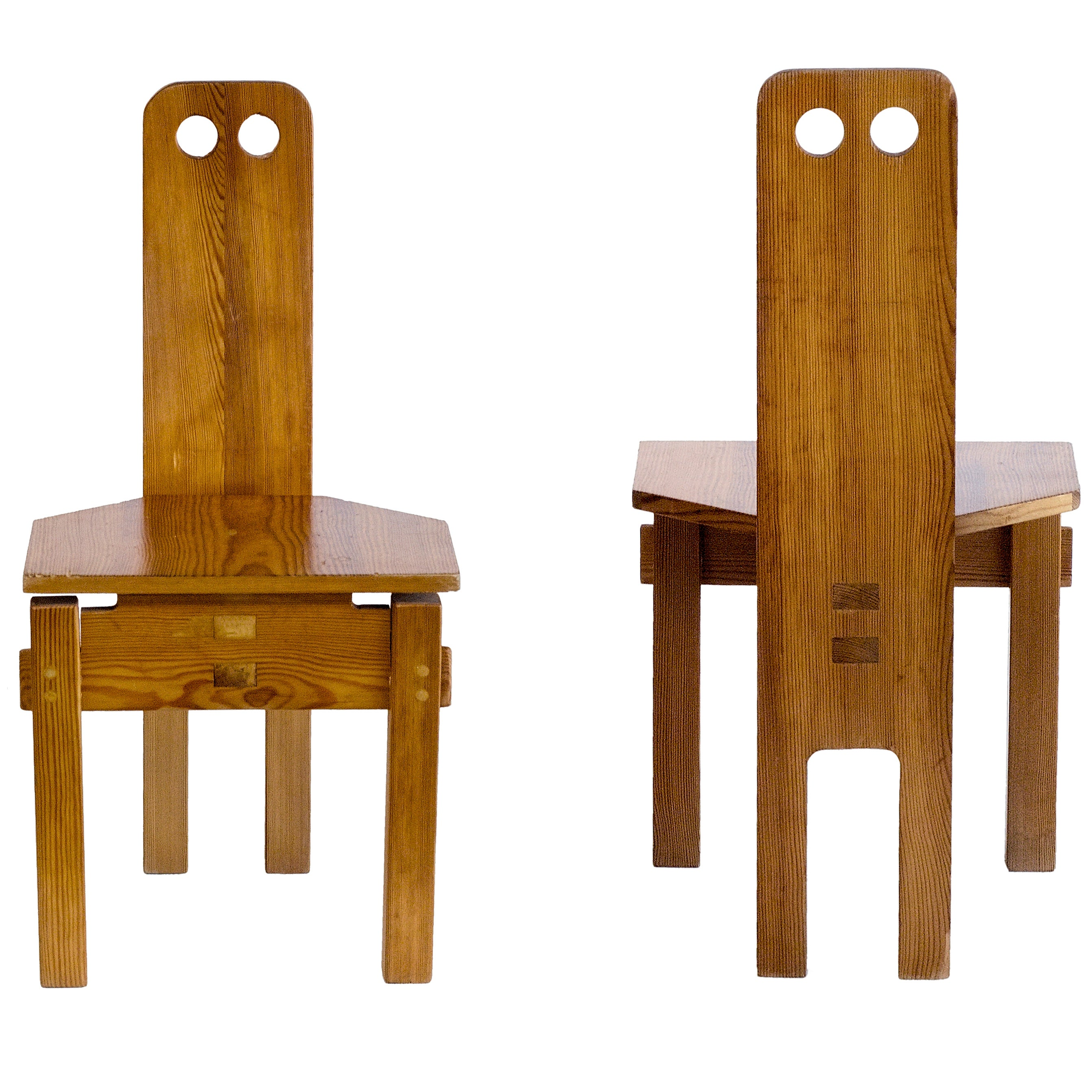 Pair Of Solid Wood Circle Cut Out Chairs By Ter Gullert Circa 1967 At 1stdibs