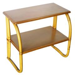 Restored Rattan Side Table w Mahogany Top by Heywood Wakefield