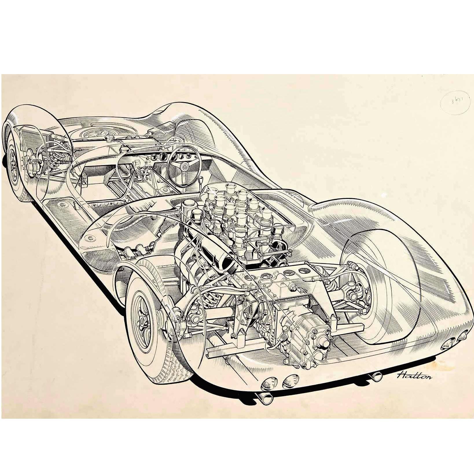 "Original ""Cutaway"" Drawing of the Lotus 30 Racing Car by Brian Hatton"