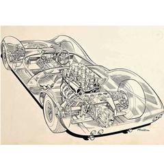 "Original ""Cutaway"" Drawing of the Lotus 30 Racing Car by Brian Hatton"