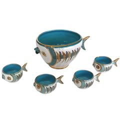 Bitossi for Raymor Fish Bowl and Cups