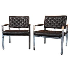 Pair of Milo Baughman for Thayer Coggin Leather Lounge Chairs