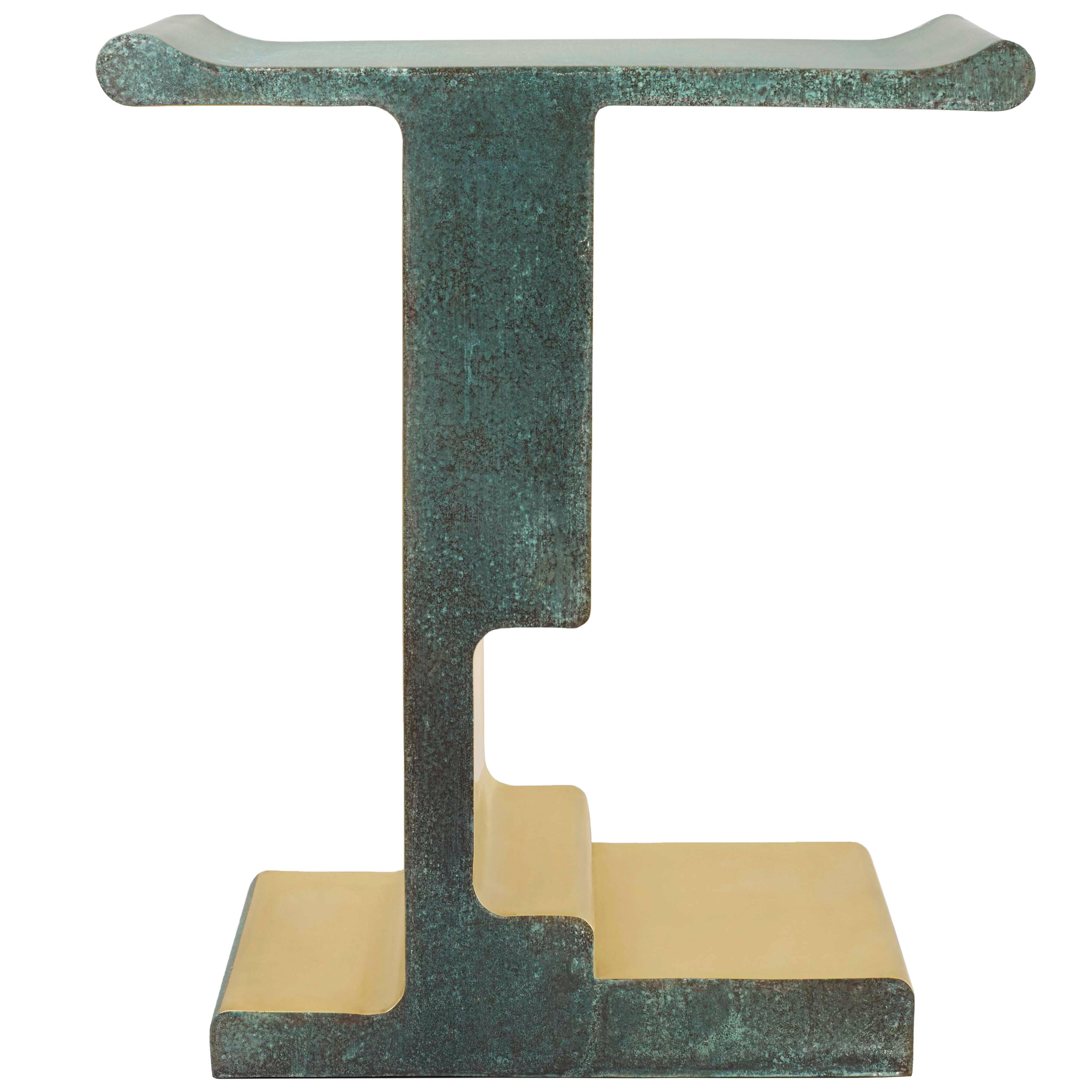 'XiangSheng I'Side Table #1, Bronze with an Etruscan Green Patina by Studio MVW