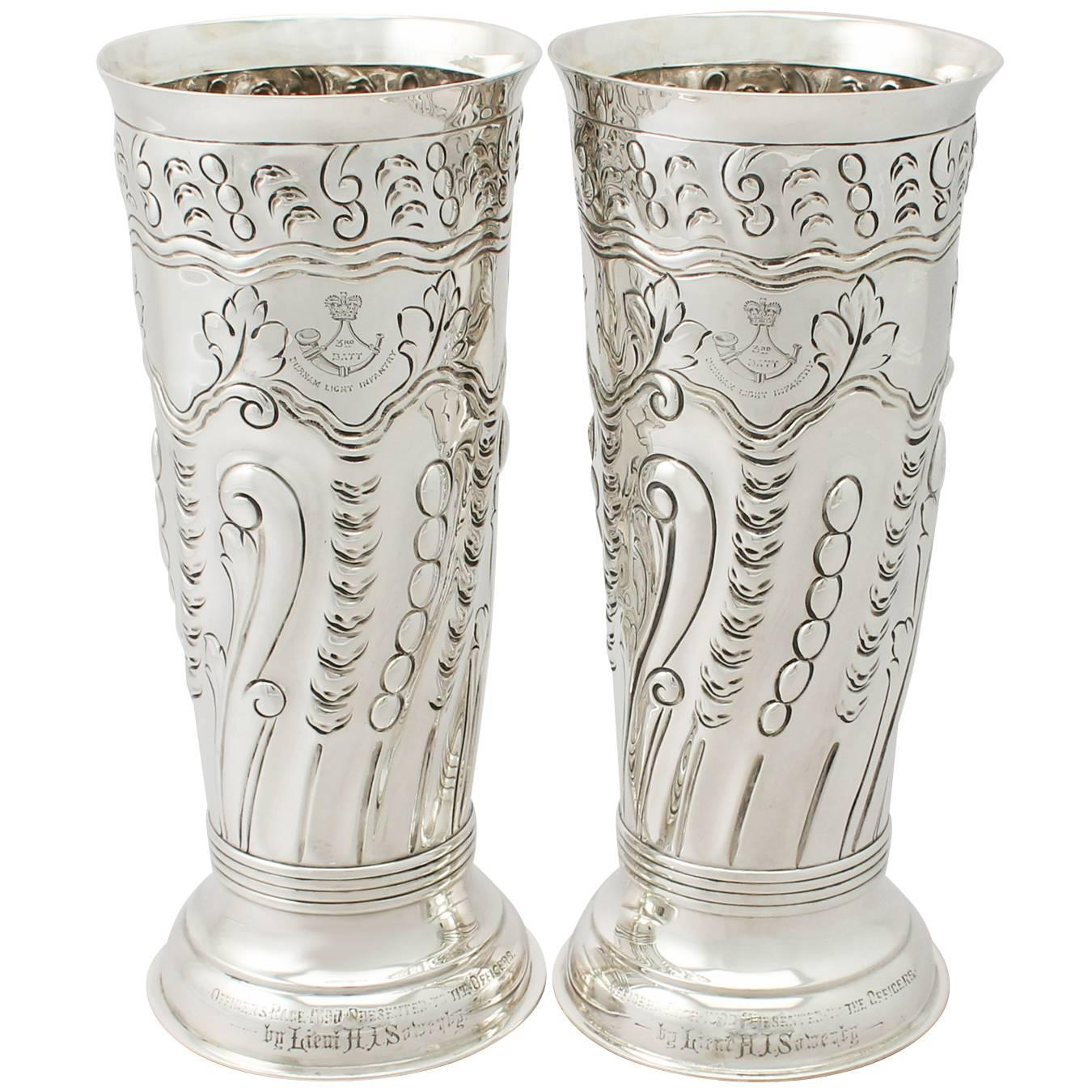 Silver Vases Pair Of Sterling Silver Vasescenterpieces Antique Victorian At