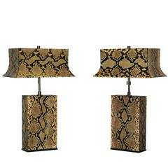 Pair of Table Lamps in Python by Karl Springer