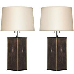 Pair of Table Lamps in Bronze with Shagreen Panels by Karl Springer