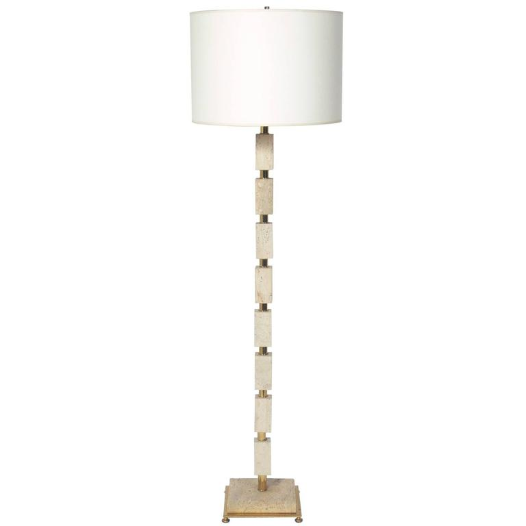 Travertine and Brass Floor Lamp