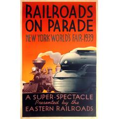 "Rare American Poster for the New York World's Fair 1939, ""Railroads on Parade"""