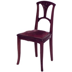 French Art Nouveau Walnut and Velvet Side Chair