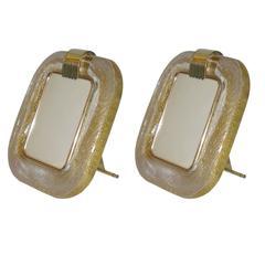 Venini Pair of Double Gold Murano Glass Photo Frames