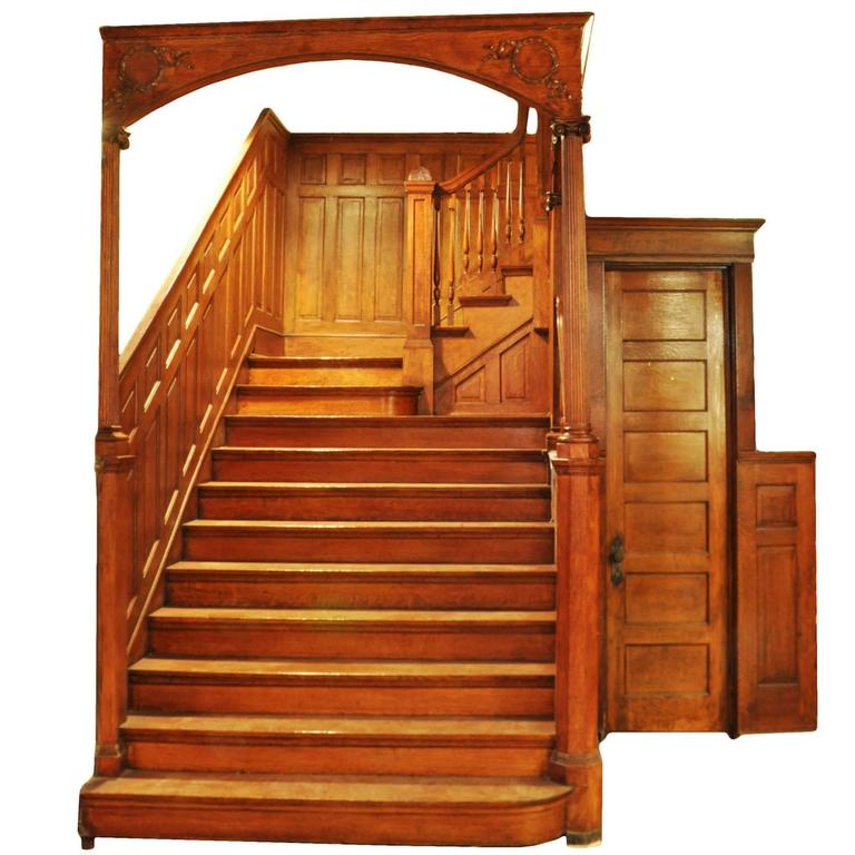 Victorian Quartersawn Oak Staircase, Circa 1895 For Sale