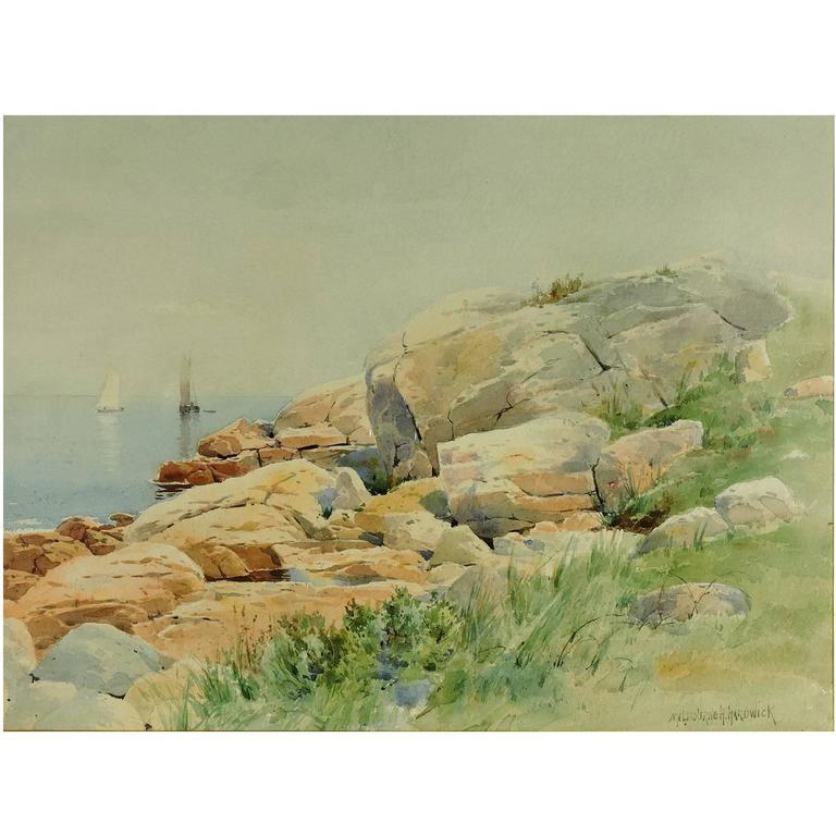 Melbourne Hardwick Rocky New England Coast Watercolor