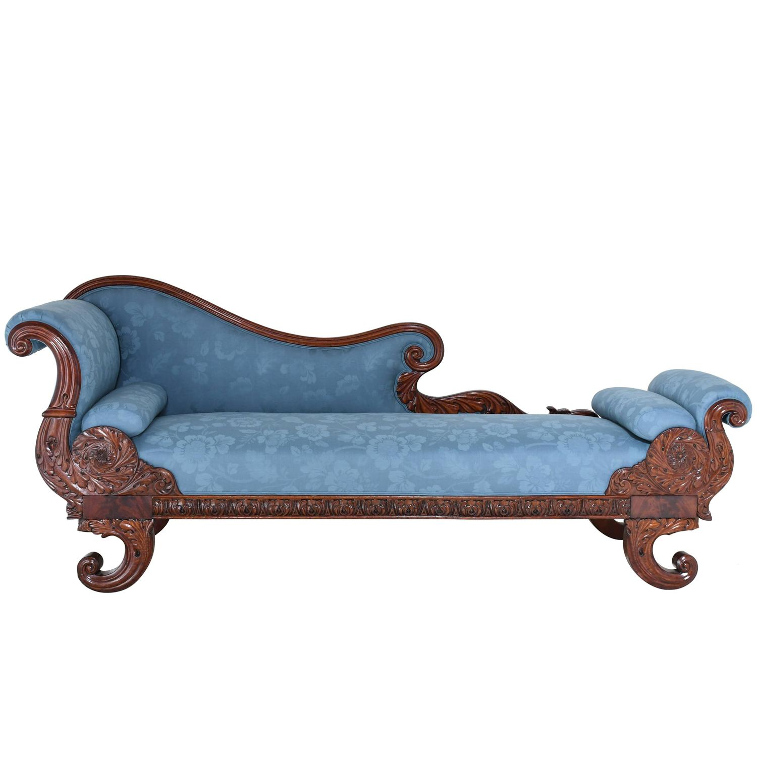 19th Century Empire Recamier Or Fainting Couch In Mahogany With Upholstery At 1stdibs