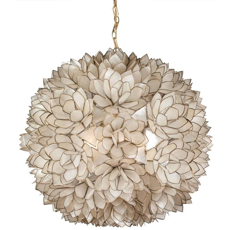 Globe capiz shell chandelier french 1960s at 1stdibs - Capiz shell bathroom accessories ...