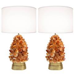 Pair of Deep Amber Rock Crystal Lamps by Craig Van Den Brulle