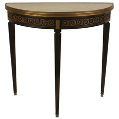 1940s French XVI Style Bronze-Trimmed Ebonized Demilune, by Jansen