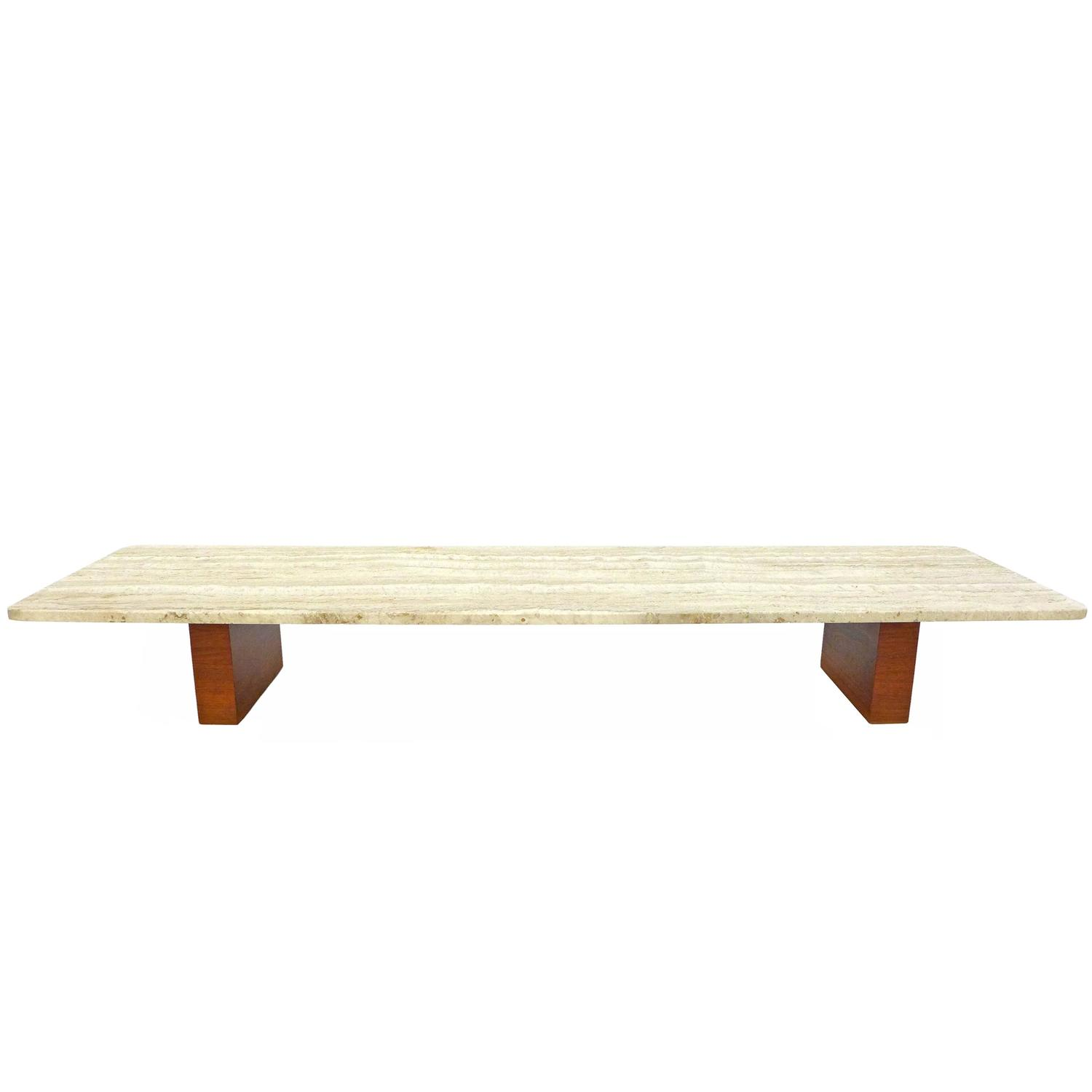 Low travertine and wood coffee table at 1stdibs for Low coffee table wood