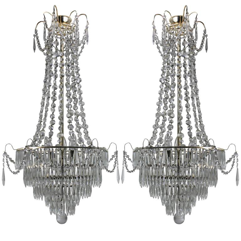 Pair of swedish chandeliers for sale at 1stdibs pair of swedish chandeliers for sale mozeypictures Choice Image