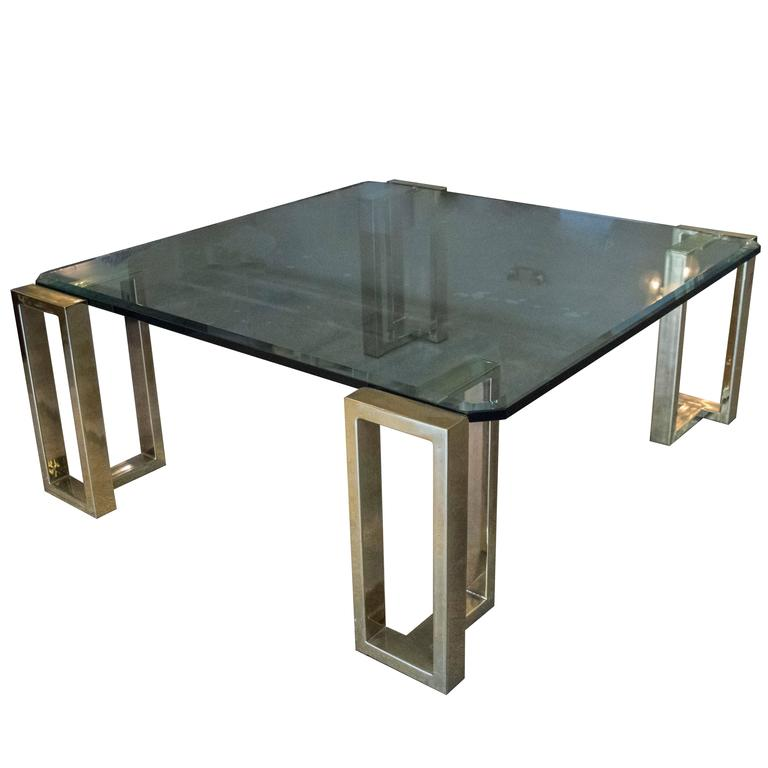 Large Square Brass And Beveled Glass Coffee Table By Pace At 1stdibs